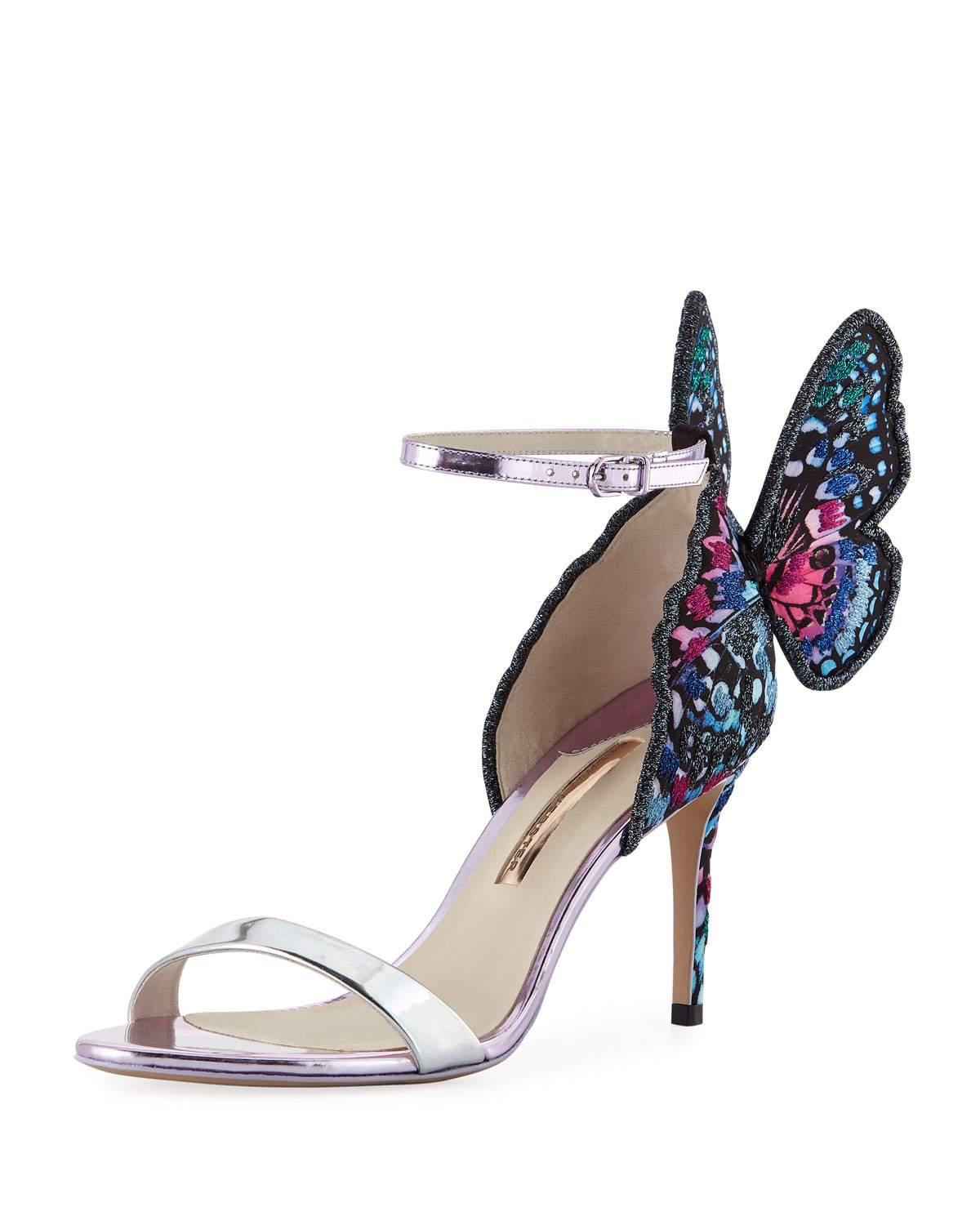 9350a0b64aa Women's Blue Chiara Embroidered Butterfly Satin Sandal