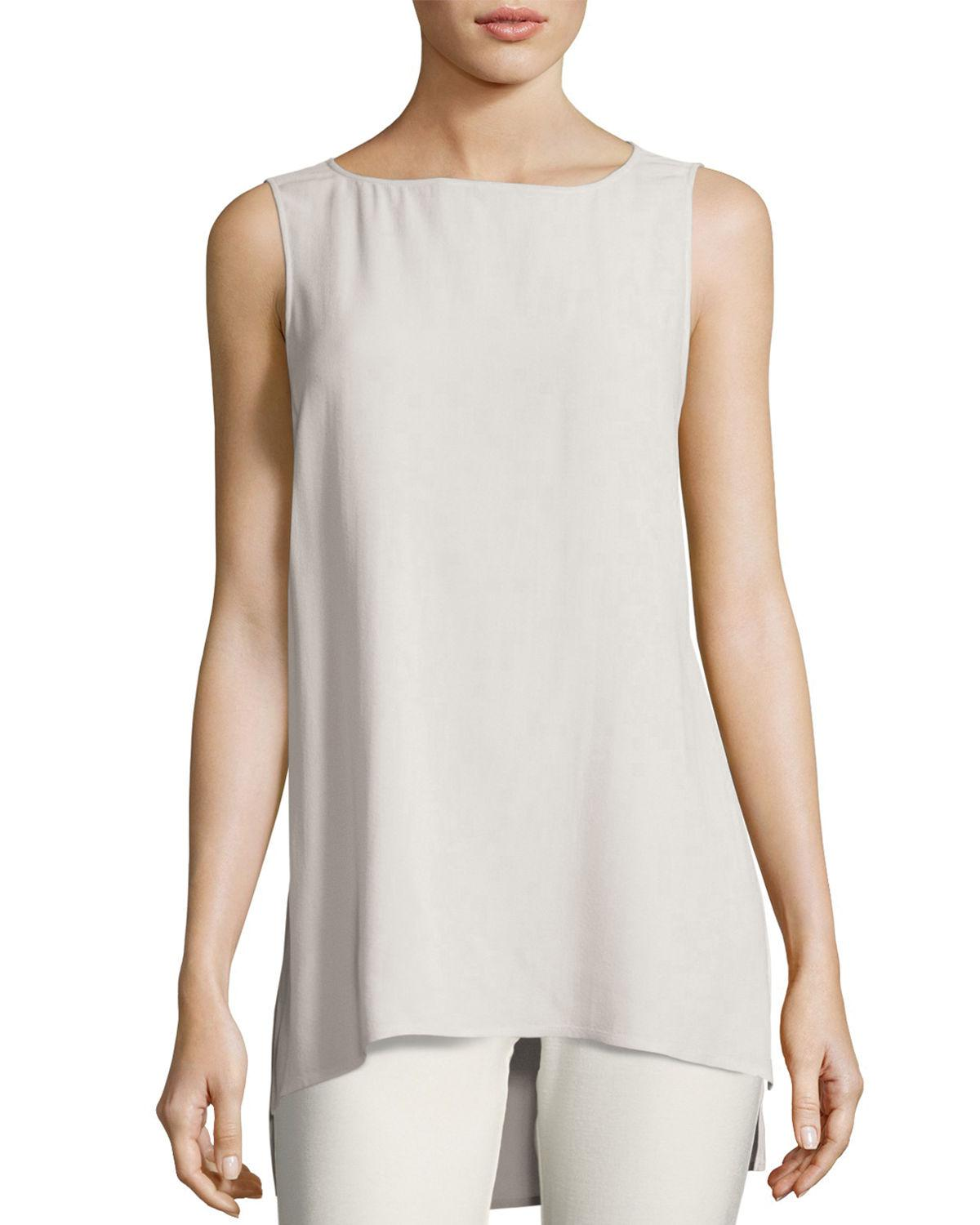 481ed4bfd5e78d Lyst - Eileen Fisher Bateau-neck Silk Georgette Crepe Shell Petite ...