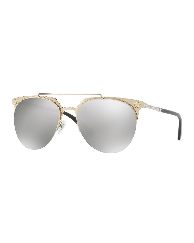 d9087c167101 Versace Semi-rimless Aviator Sunglasses in Gray