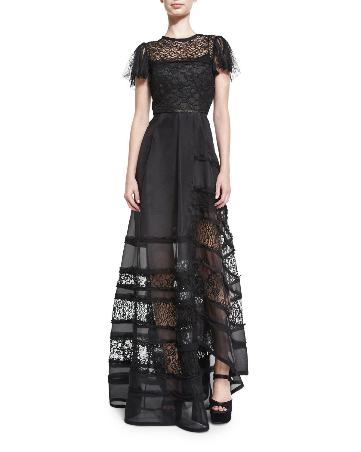 3224a5f8565f Black Lace Short Sleeve Gown