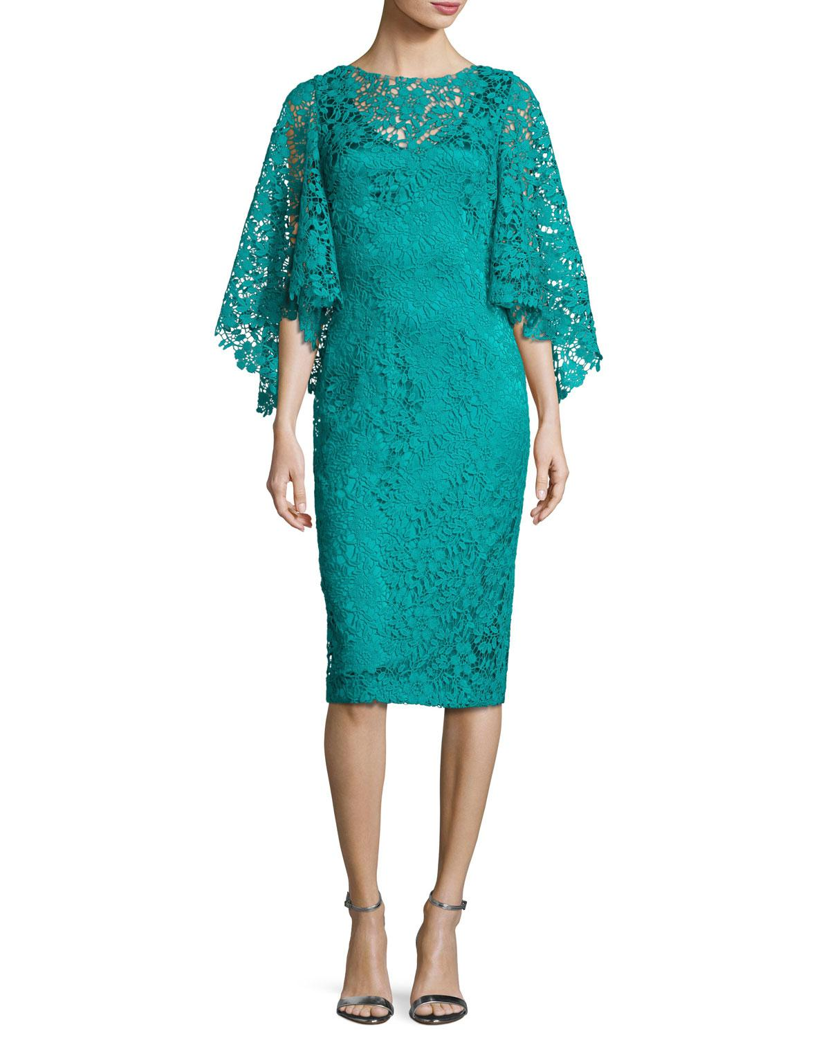 Lyst - Theia Bell-sleeve Floral Lace Cocktail Dress in Blue