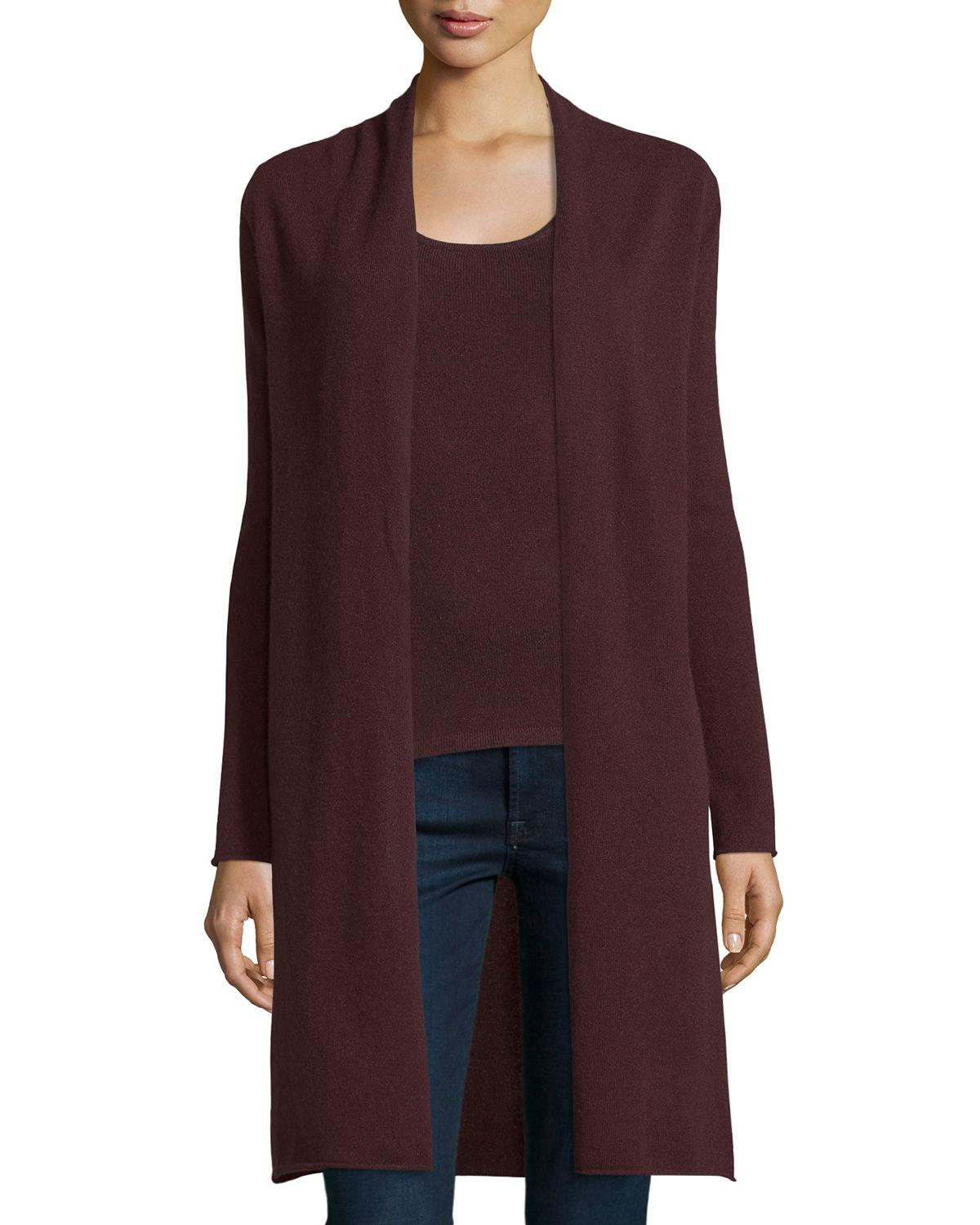 Neiman marcus Long Cashmere Duster Cardigan in Purple | Lyst