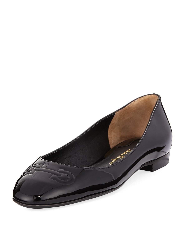 Ferragamo. Women's Black Broni Patent Ballerina Flat ...