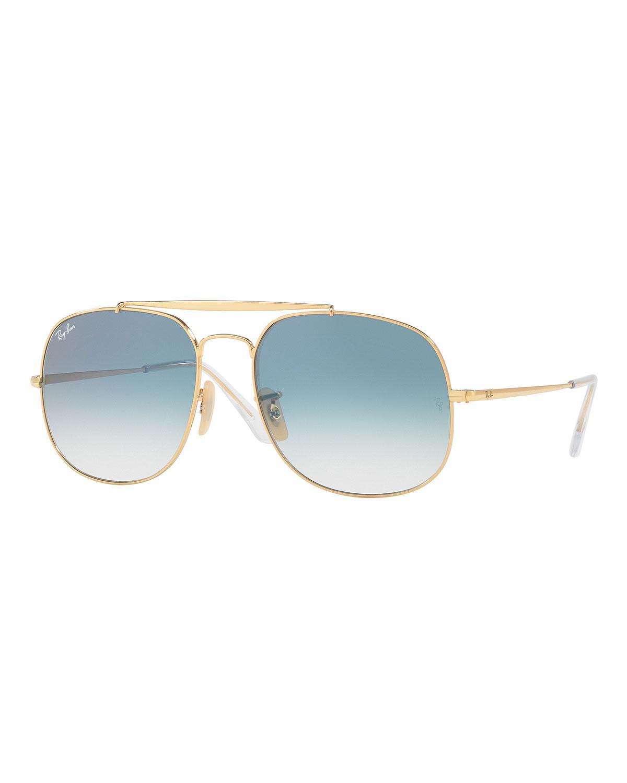 bcb2e367a2 Ray-Ban. Men s The General Aviator Sunglasses Golden light Blue Gradient