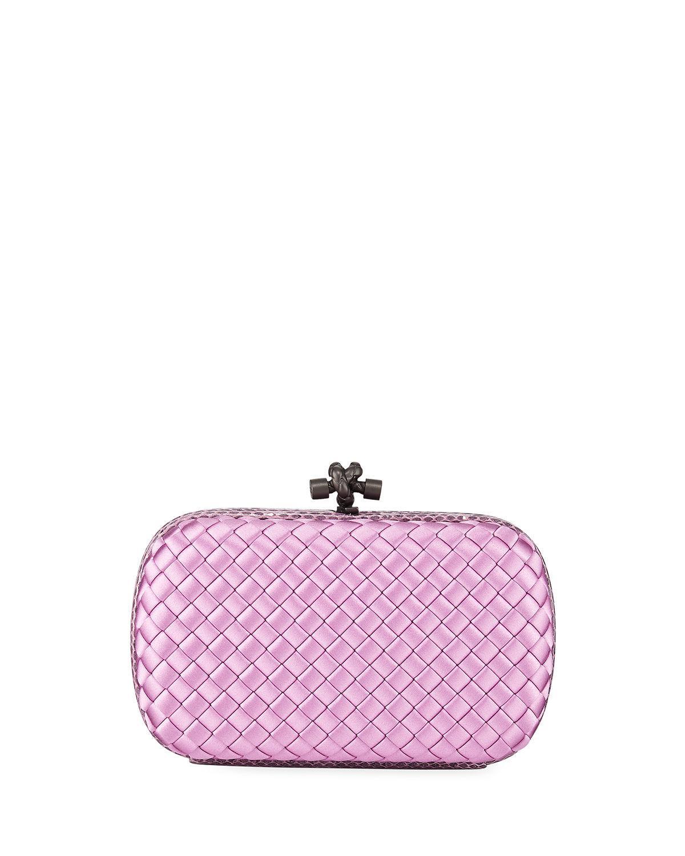 3af441304e Lyst - Bottega Veneta Medium Chain Knot Satin Clutch Bag in Pink
