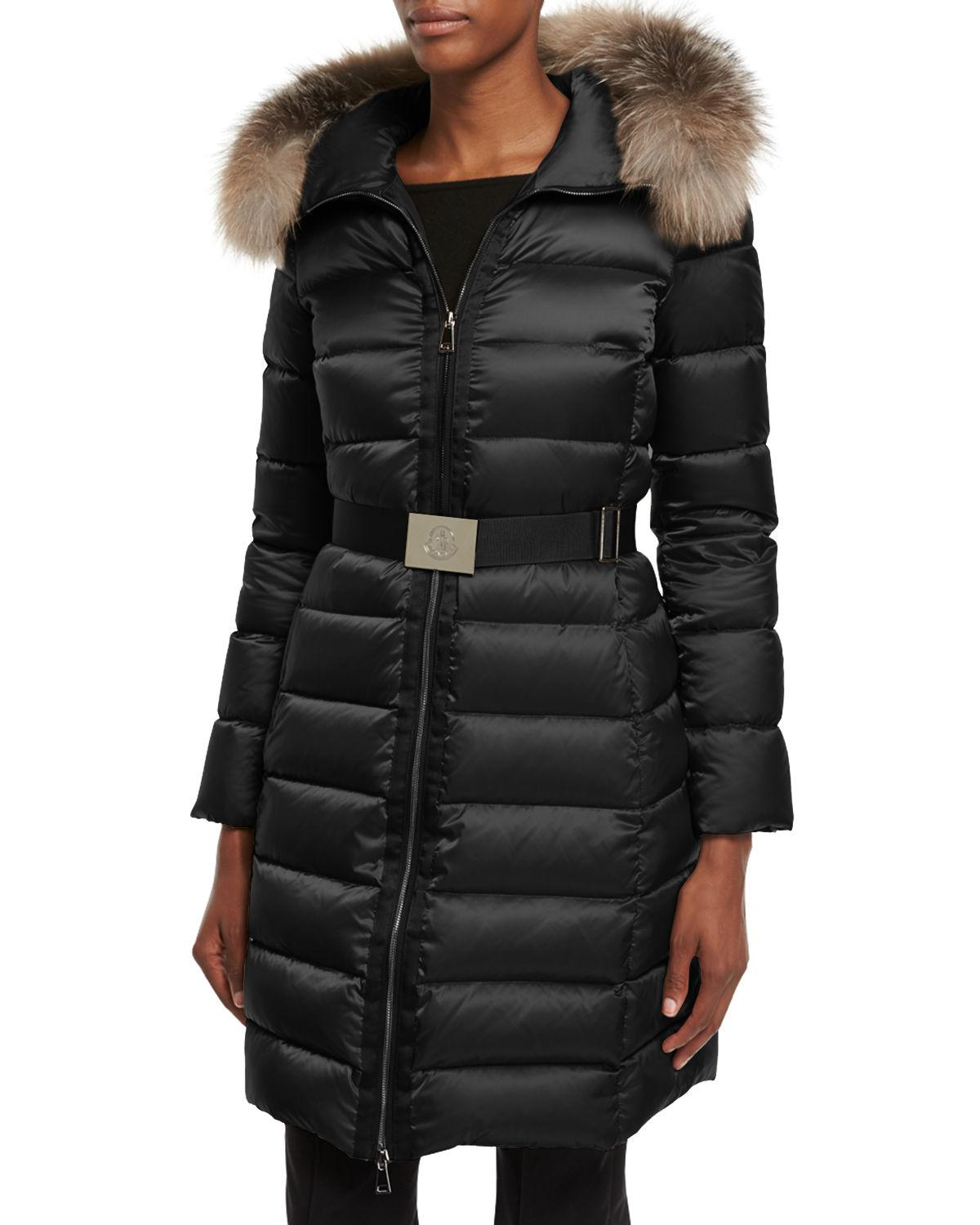db6f54111 Lyst - Moncler Tinuviel Shiny Quilted Puffer Coat W fur Hood in Black