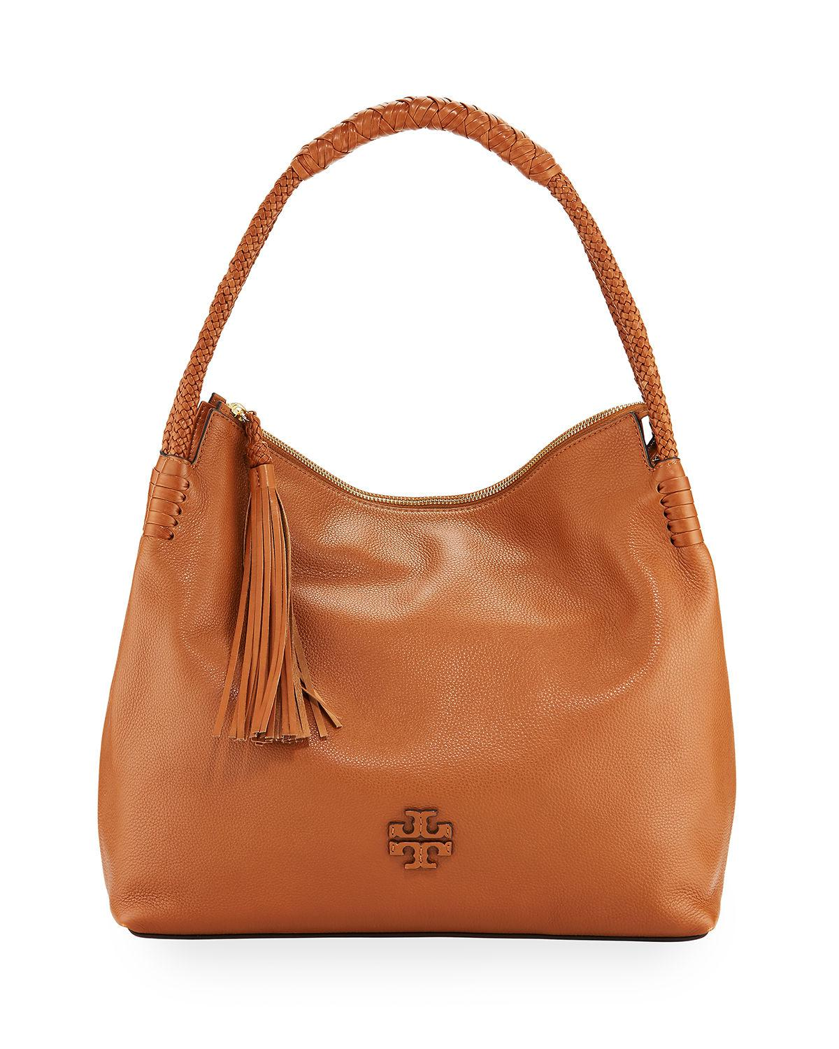 047879083ab Tory Burch Taylor Pebbled Leather Zip-top Hobo Shoulder Bag in Brown ...