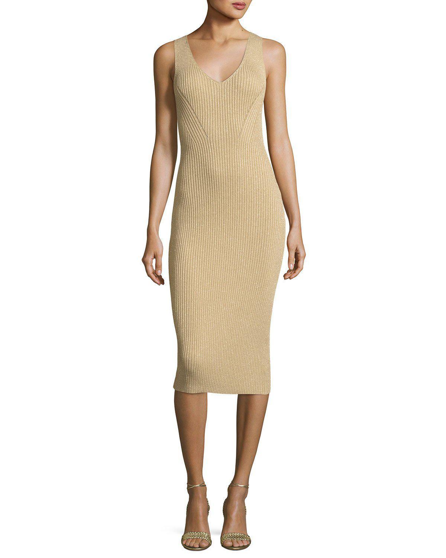 61c7bd8f0b Lyst - MICHAEL Michael Kors Sleeveless Ribbed Metallic Sweater Dress ...