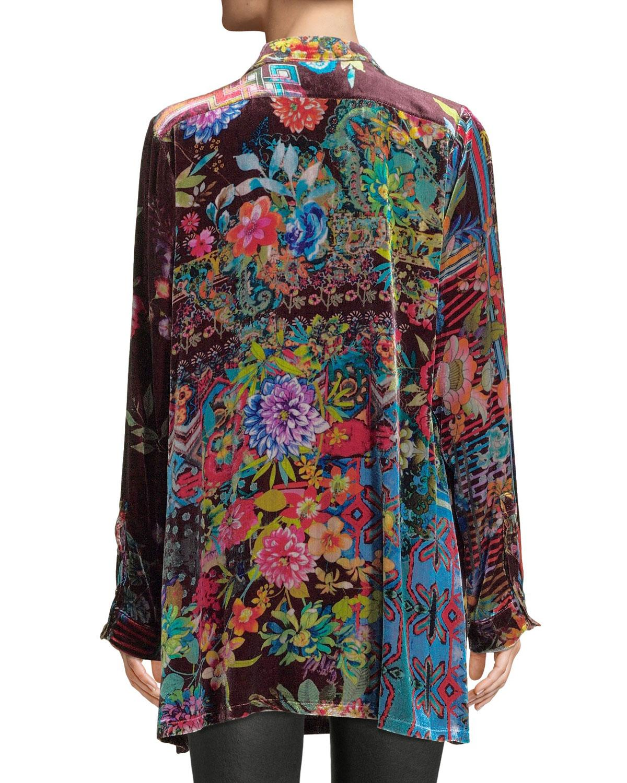 Johnny Was Dream Floral-print Velvet Easy Tunic in Black ...