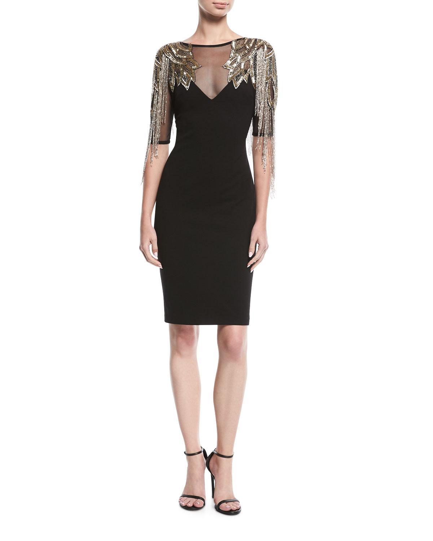 Lyst - Aidan Mattox Beaded Cocktail Dress W/ Metallic Fringe in Black