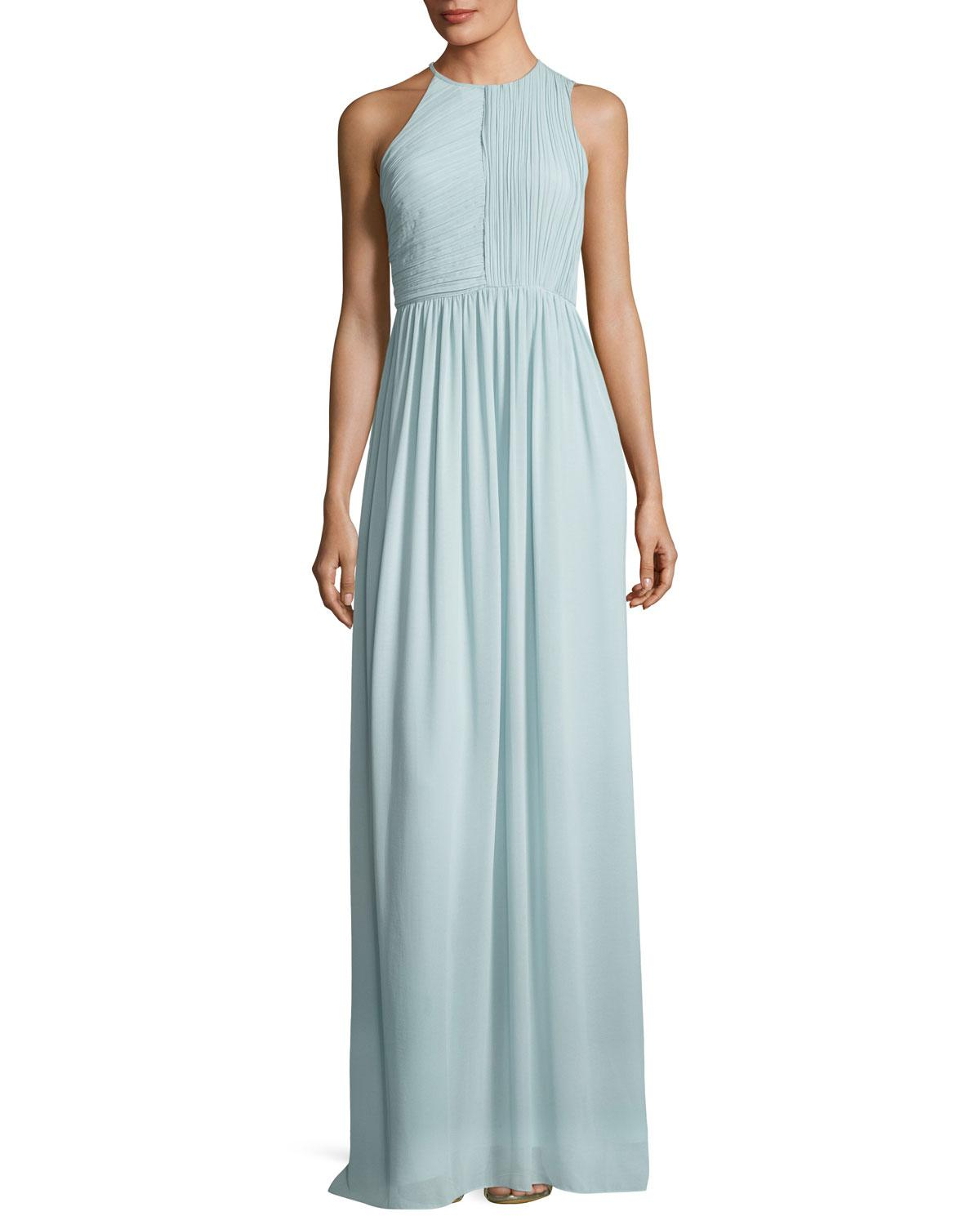Lyst - Halston Heritage Fortuny Plissé Back Drape Evening Gown in Blue