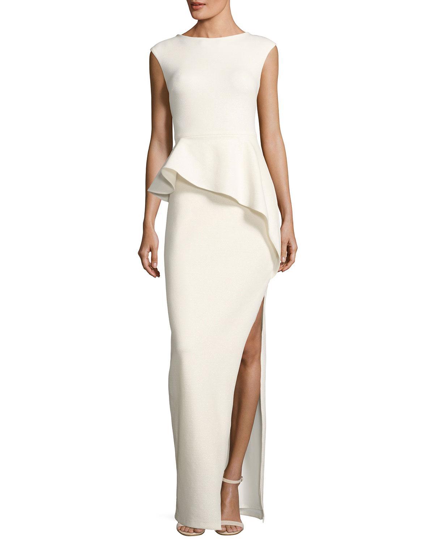 Lyst - Halston Heritage Cap-sleeve Round-neck Column Evening Gown W ...