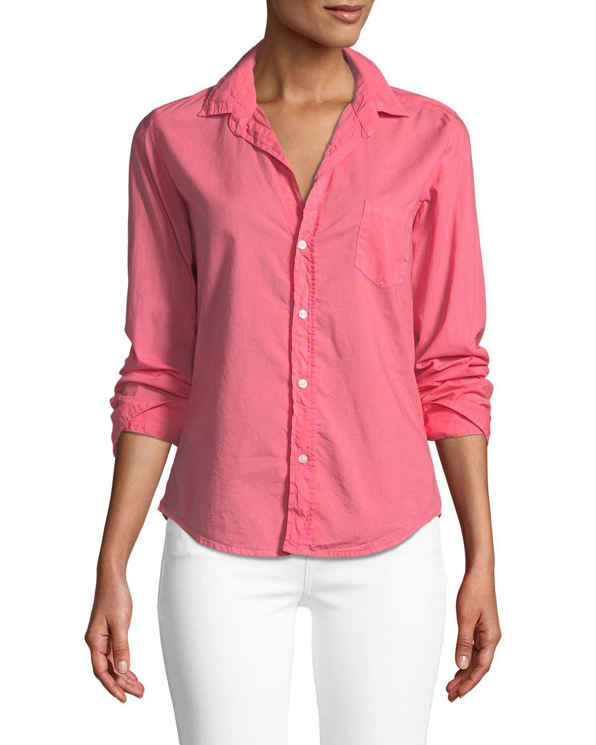 c10530df Lyst - Frank & Eileen Barry Long-sleeve Button-down Top in Pink