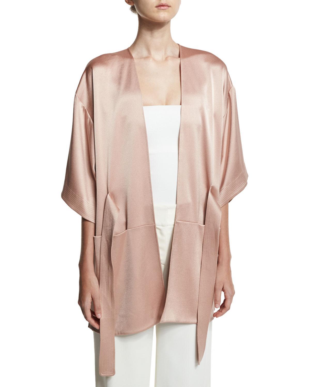 Halston Heritage Womens Satin Kimono Wrap Jacket with Multi Needle Sash