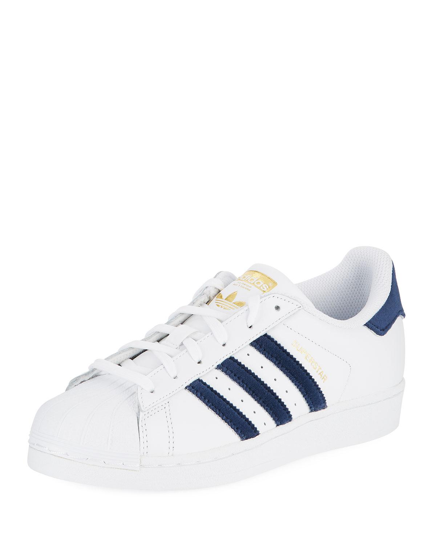 adidas superstar navy blue stripes