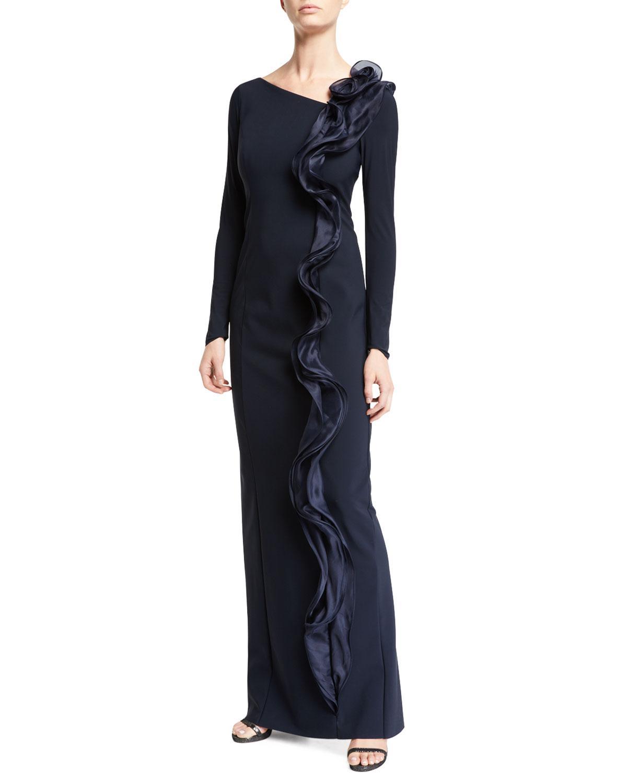 45f99fb8c365 Lyst - Teri Jon Silk Ruffle Long-sleeve Scuba Gown in Blue