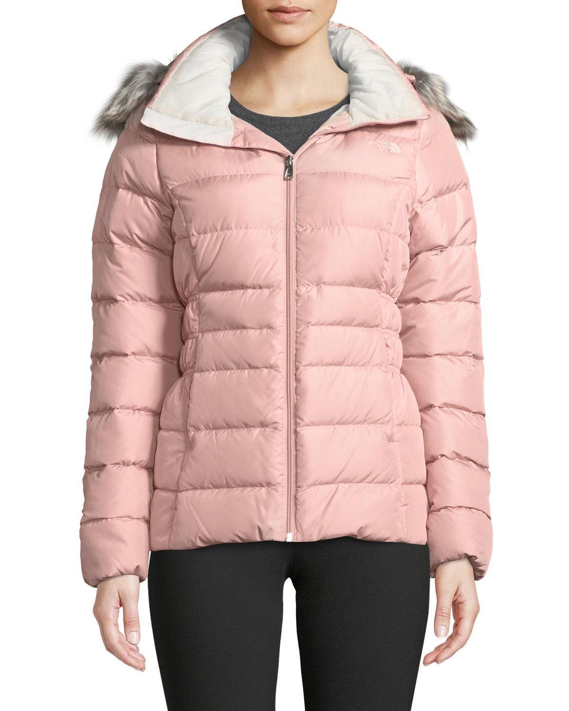 35e0105bc The North Face Pink Gotham Jacket Ii W/ Faux-fur Trim & Hood