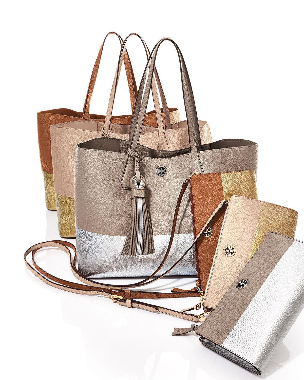 5dfde174cf3 Lyst - Tory Burch Perry Colorblock Wallet Crossbody Bag in Metallic