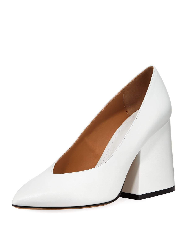 Leather V-neck Pointed Block-heel Pumps