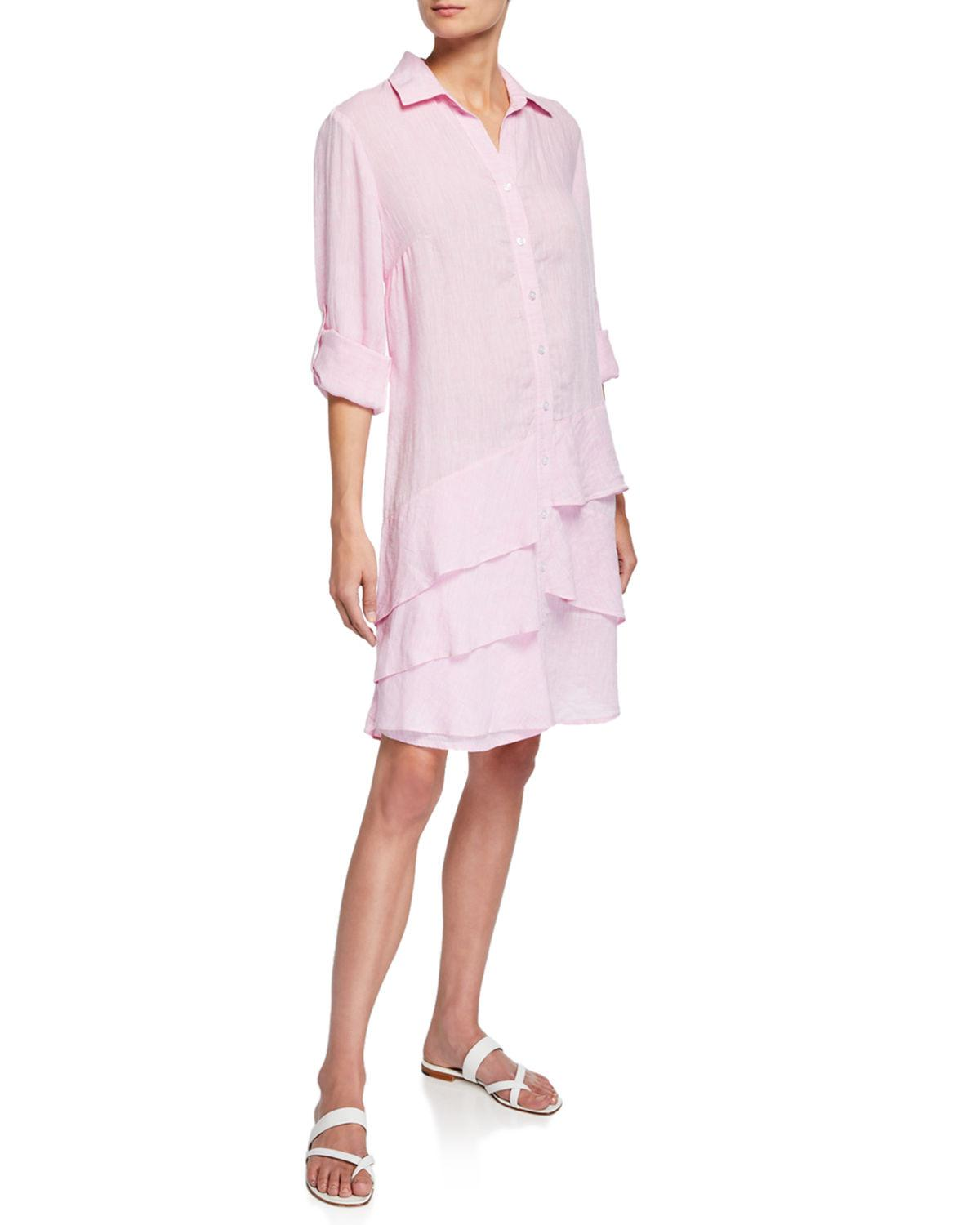 a3bd8965bfd537 Finley Jenna Washed Linen Shirtdress With Tiered Ruffles in Pink ...