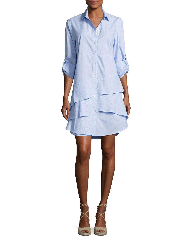 0f66339f9f Finley Jenna Long-sleeve Ruffle-tiered Striped Shirtdress in Blue - Lyst