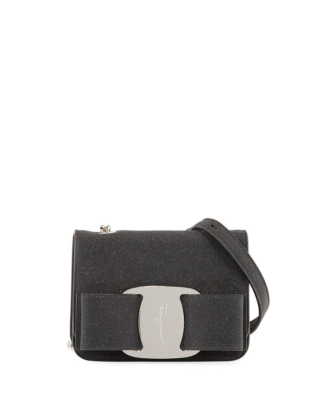 4316a17287 Lyst - Ferragamo Vara Rainbow Glitter Leather Shoulder Bag in Black