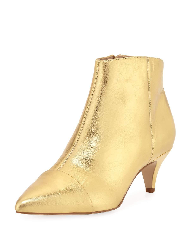 1f0dee660268 Lyst - Sam Edelman Kinzey Metallic Leather Kitten-heel Booties in ...