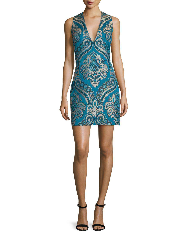7242c2cf596 Lyst - Alice + Olivia Natalee Paisley Sleeveless Sheath Dress in Blue