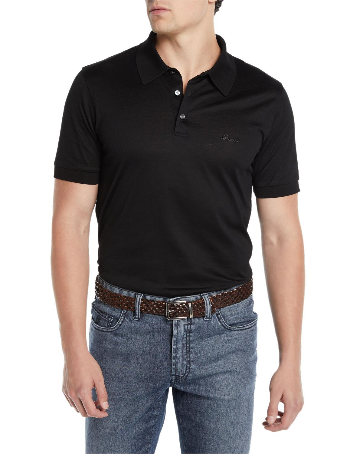 b6190420 Lyst - Brioni Men's Three-button Jersey Polo Shirt in Black for Men