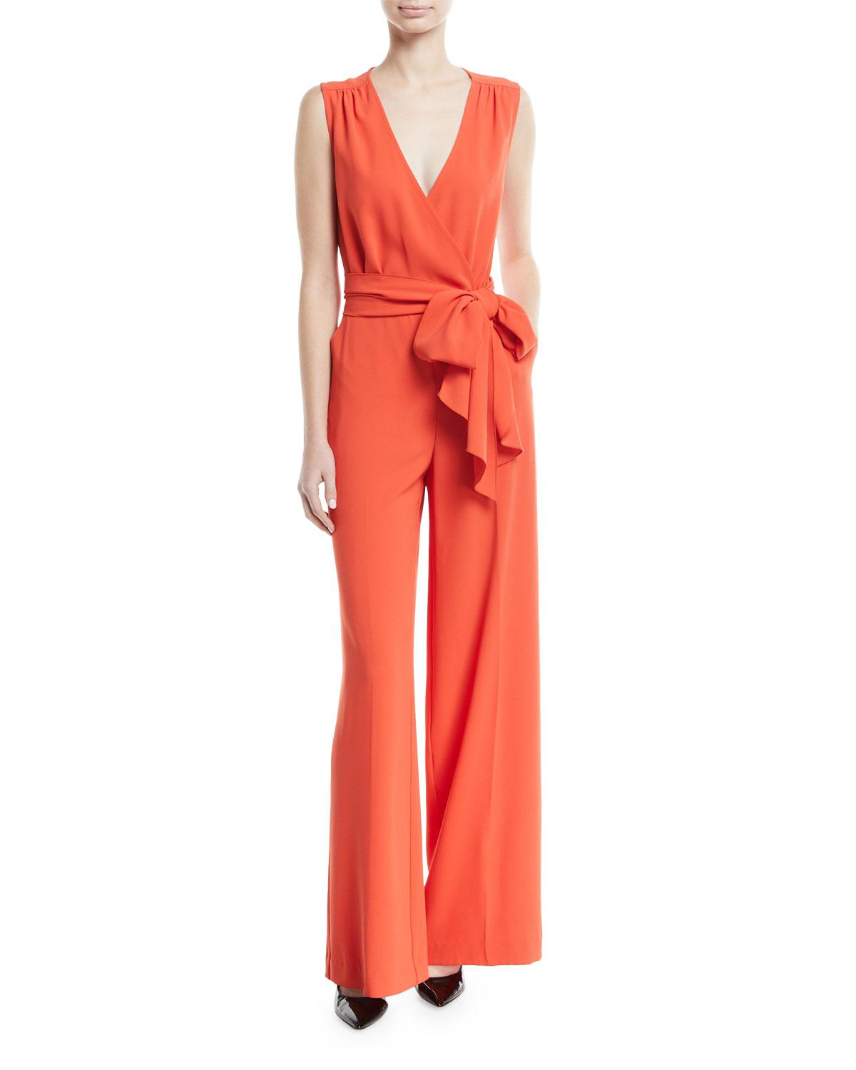 ba4bc0c9b124 Trina Turk Tiger Lily V-neck Wide-leg Jumpsuit in Red - Lyst