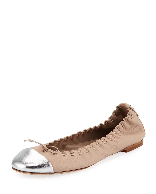 376fe212bfb Women's Brown Metallic Cap-toe Leather Ballet Flats