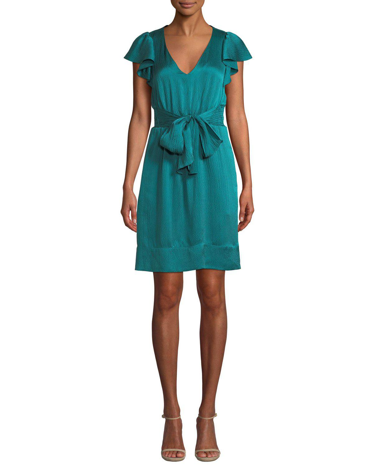 7f0ab448132c Lyst - Rebecca Taylor Hammered Silk Flutter Sleeve Dress in Green