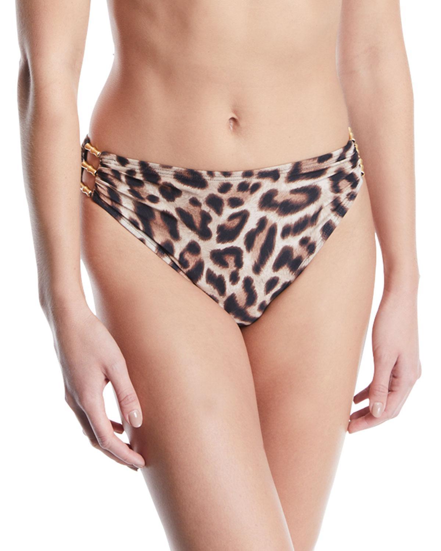 534510902a701 Carmen Marc Valvo. Women's Cutout Leopard High-waisted Bikini Bottom