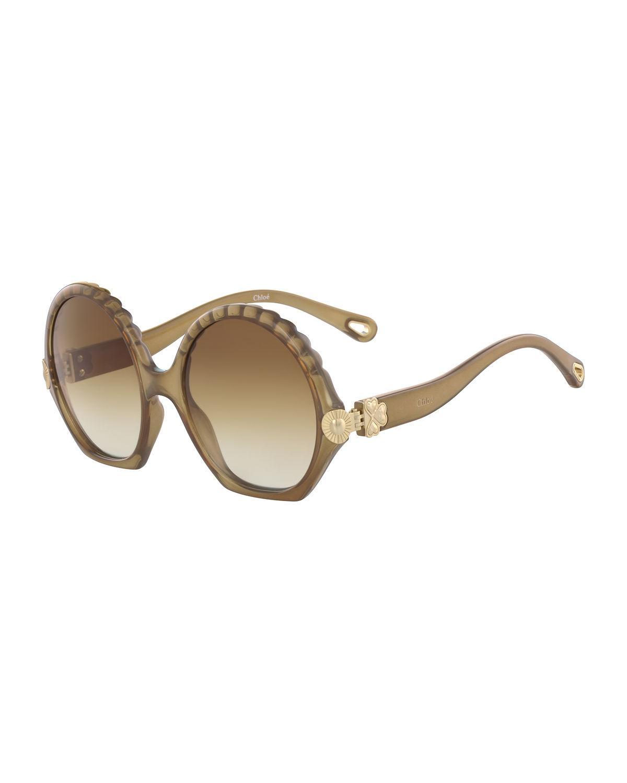 fde05072d7a Chloé - Brown Vera Scalloped Round Plastic Sunglasses - Lyst. View  fullscreen