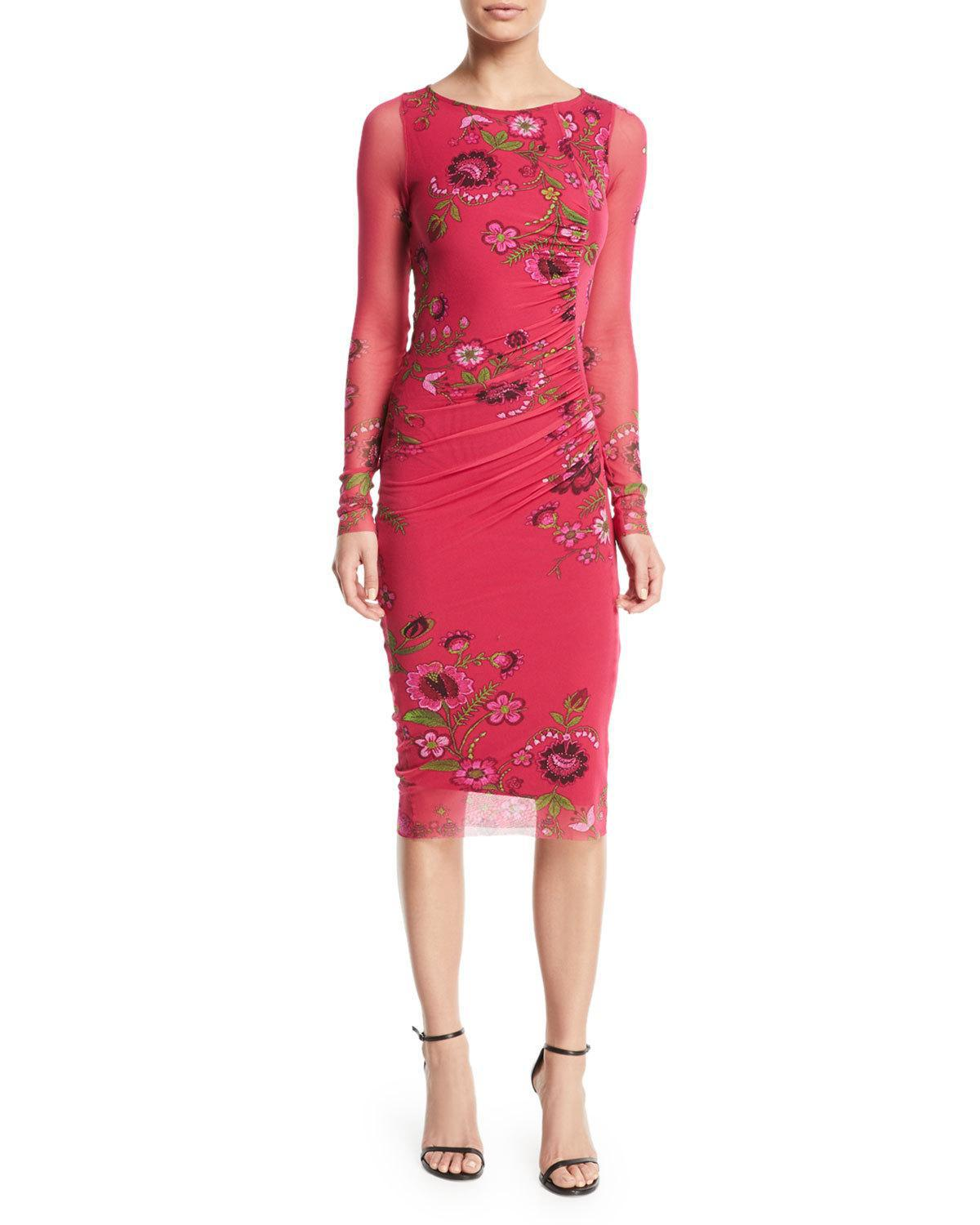 Lyst - Fuzzi Petunia Long-sleeve Side-shirred Sheath Dress in Red