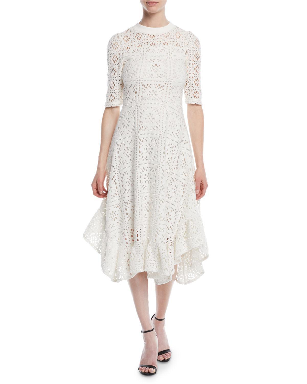 Lace Jersey Midi Dress