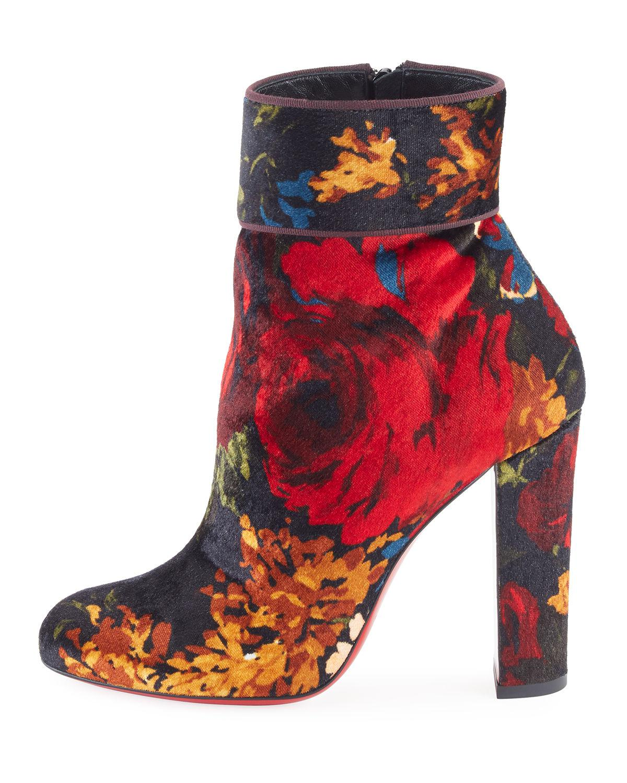 buy popular 02e50 634f8 Christian Louboutin Black Moulamax Floral Velvet 100mm Red Sole Bootie