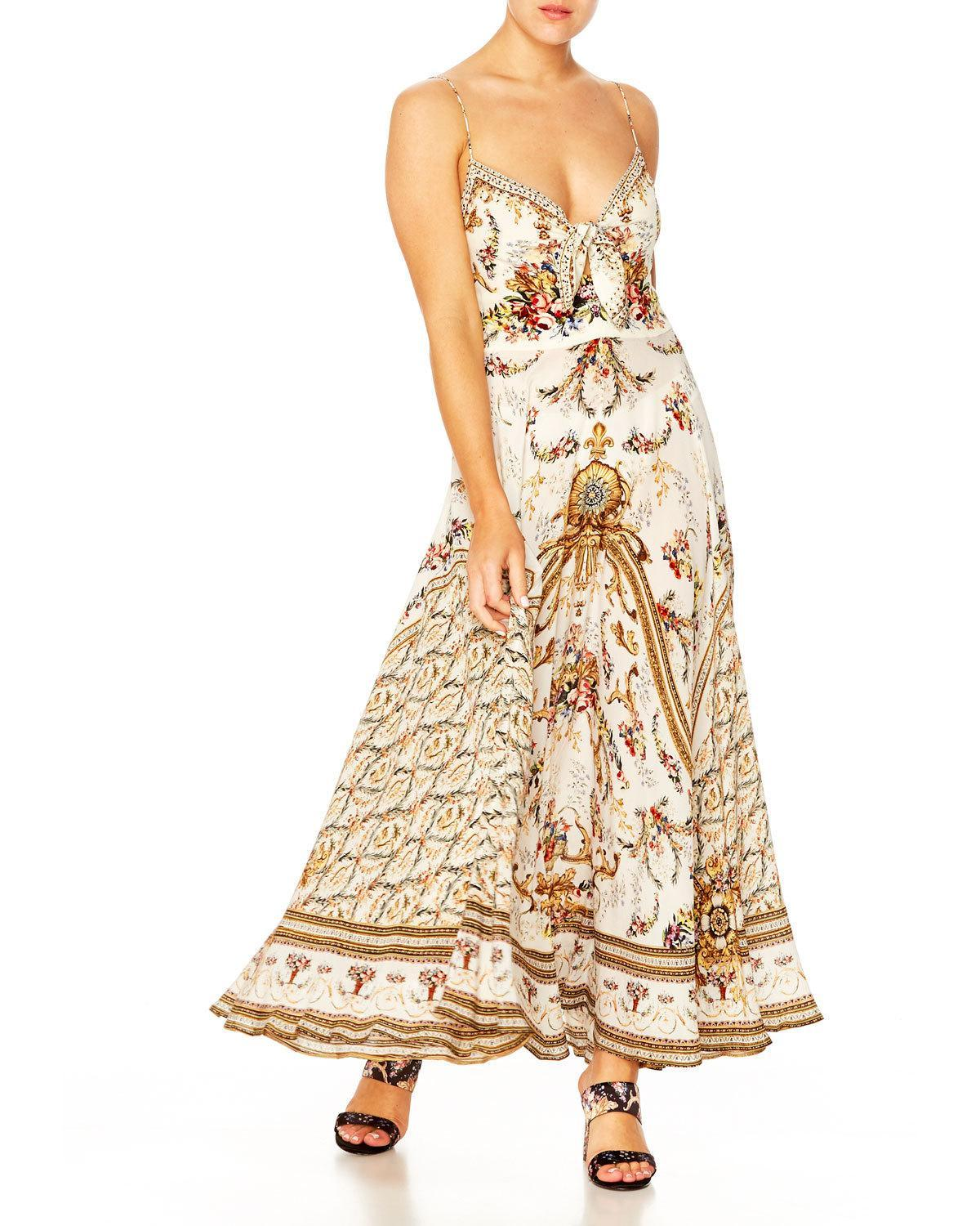 8a9461c0788e Lyst - Camilla Printed V-neck Sleeveless Tie-front Maxi Dress in Natural