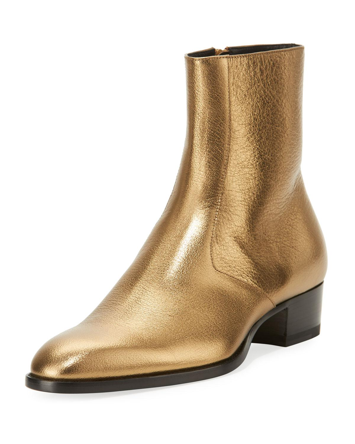Metallic Leather Ankle Boots Gold