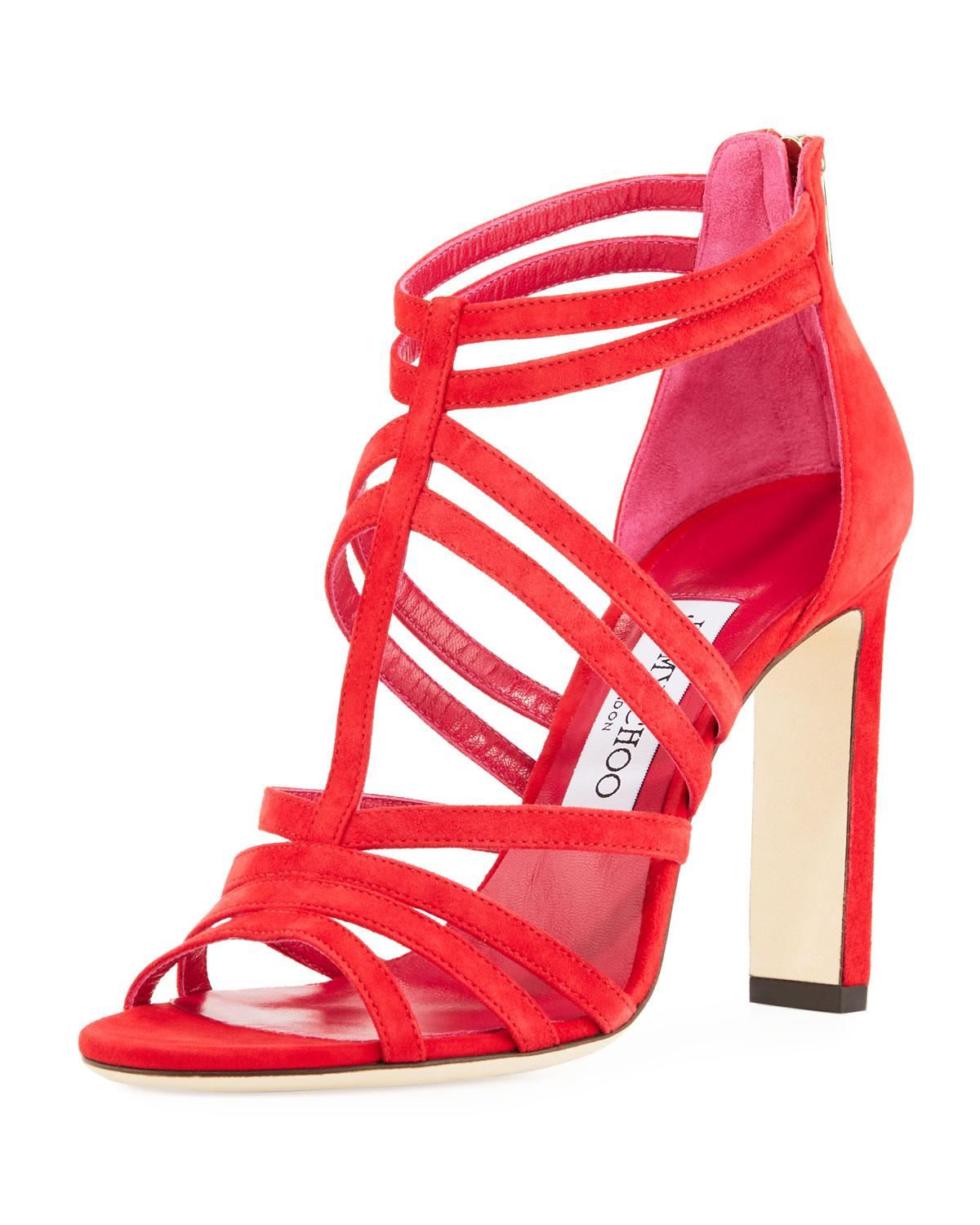 32272fd97523 Lyst - Jimmy Choo Selina Suede Strappy 100mm Sandal in Red - Save 60%