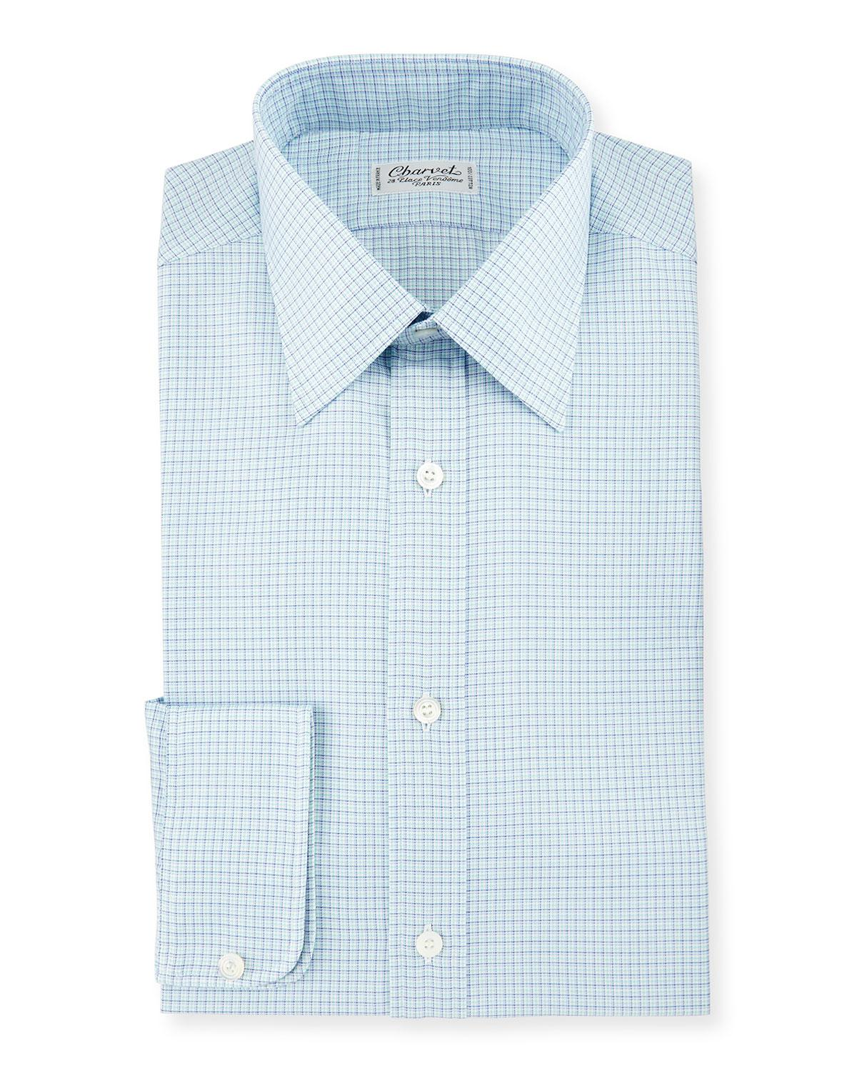 Lyst charvet check plaid dress shirt in blue for men for Blue check dress shirt