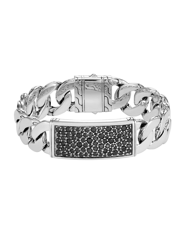 John Hardy Mens Classic Chain Onyx ID Bracelet 22Aeu