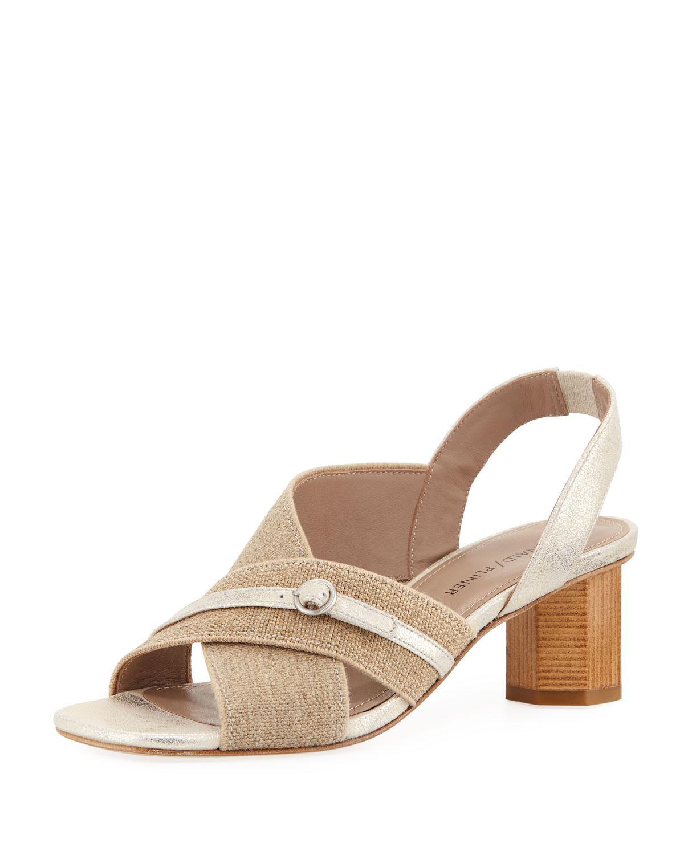 Donald Pliner Radly Metallic Linen Block Heel Sandals 9na2nKsI