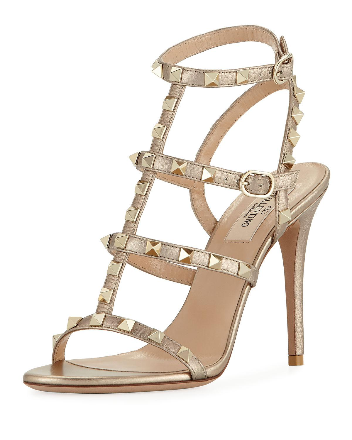 6c0ec8157dc Lyst - Valentino Rockstud Metallic Leather 105mm Sandal in Metallic