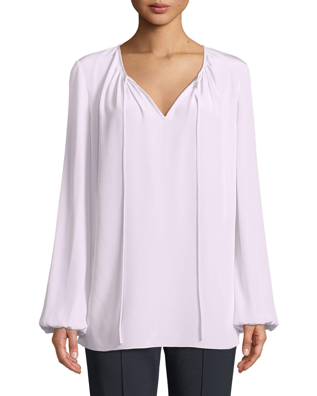 f3ac8e539be877 Lyst - Diane von Furstenberg Long-sleeve Silk Keyhole Blouse in Purple