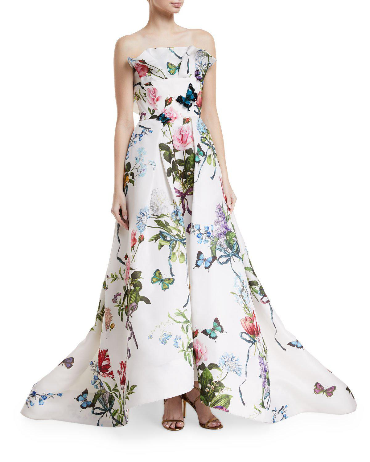 Lyst - Monique Lhuillier Ruffle-neck Floral-print Evening Gown With ...