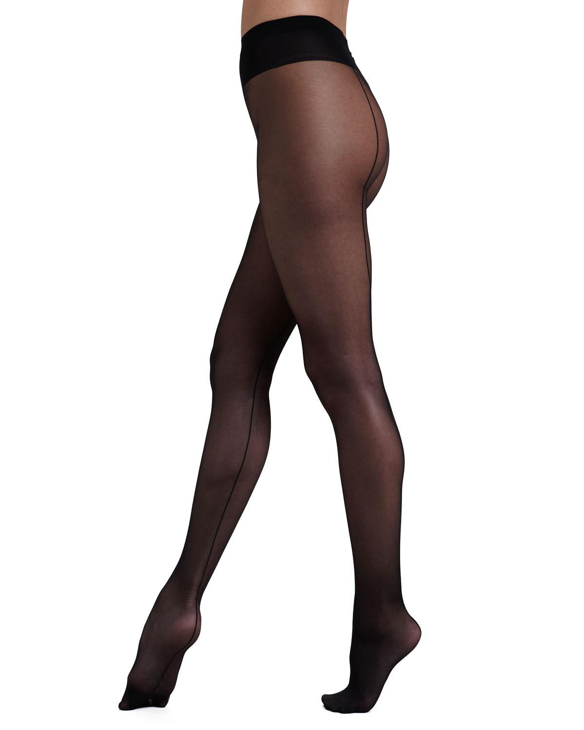 47014336b89 Wolford Individual 10 Back Seam Tights in Black - Lyst