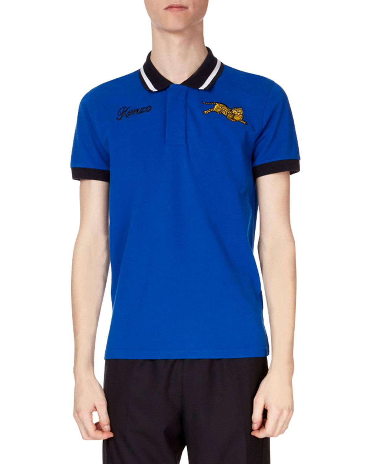 641b9b26e5 Lyst - KENZO Men s Jumping Tiger Collared Polo Shirt in Blue for Men