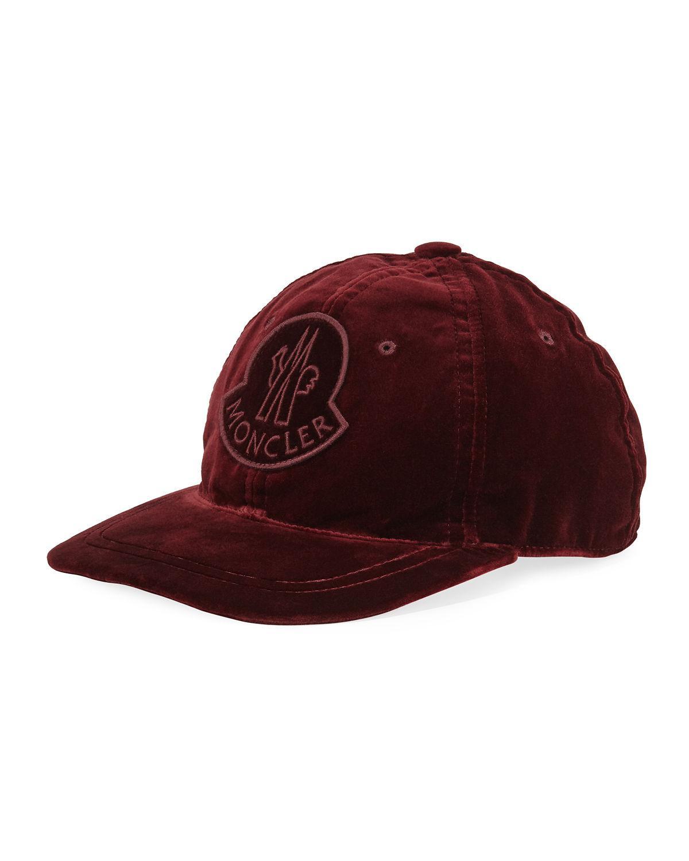 cc97128b2f6 Lyst - Moncler Velvet Baseball Cap W  Logo Patch in Red