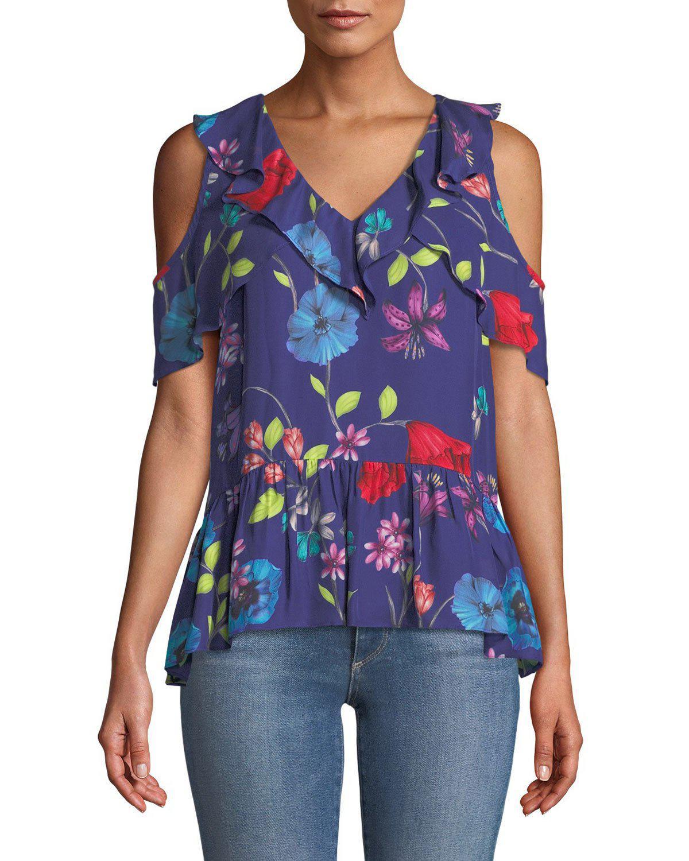 66624b79849d3 Lyst - Parker Dedra Floral Cold-shoulder Top in Blue